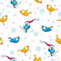 modello invernale con divertenti uccelli dagli occhi grandi vettore