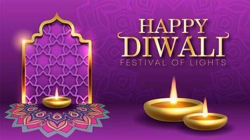 Diwali Holiday background per il festival della luce dell'India vettore