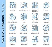 Set di icone relative al prodotto astratto blu linea sottile vettore