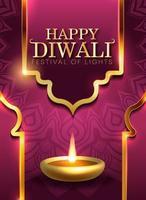 Cartolina d'auguri di festival indù di Diwali con elementi moderni vettore