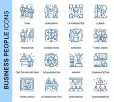 Set di icone relative blu sottile linea uomini d'affari