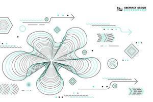 Modello geometrico astratto retrò linee nere e verde vettore