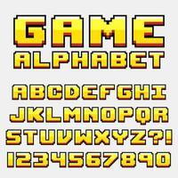 Set di lettere retrò stile videogioco Pixel vettore