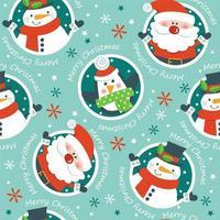 Motivo natalizio con Babbo Natale, pupazzo di neve e pinguino vettore