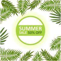 Banner di saldi estivi con cornice di foglie vettore