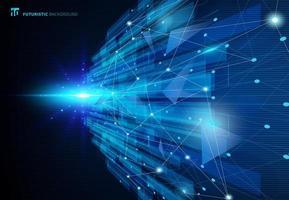 Concetto virtuale blu di tecnologia delle molecole astratte futuristico