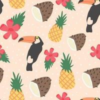Modello fresco tropicale con uccelli e frutta