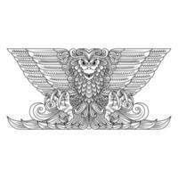 Disegno a tratteggio dell'aquila ornamentale