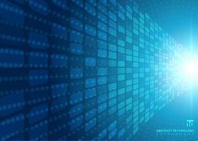 Concetto astratto di tecnologia con scoppio di luce radiale al neon blu