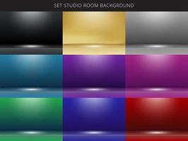 Set di 9 astratto studio camera sfondo con illuminazione sul palco. vettore