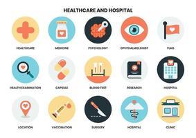 Set di icone circolari di assistenza sanitaria e ospedale vettore