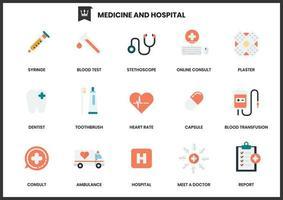 Insieme delle icone dell'ospedale della medicina su bianco