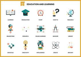 Set di icone di istruzione di apprendimento