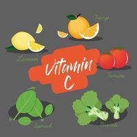 insieme di elemento di vitamina C.