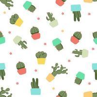 seamless pattern di cactus vettore