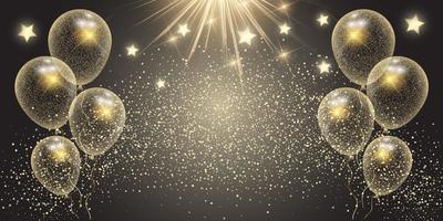 Banner di celebrazione con palloncini d'oro e stelle vettore