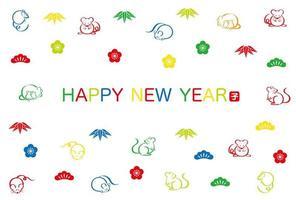 Anno del ratto Carta di Capodanno vettore