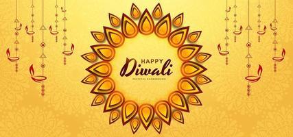 Fondo giallo di festival della cartolina d'auguri di diwali