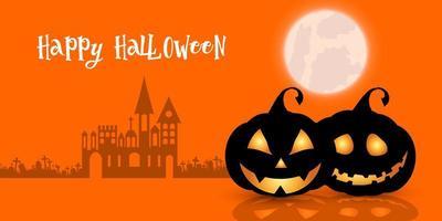 Zucche di Halloween felice e bandiera della casa stregata spettrale vettore