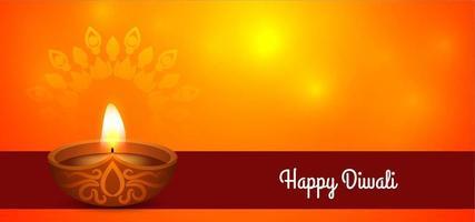 Semplice saluto Diwali felice con Diya vettore