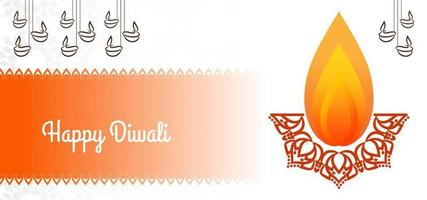 Fiamma semplice Saluto felice di Diwali sul bianco vettore