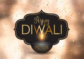 Felice Diwali sfondo con coriandoli d'oro