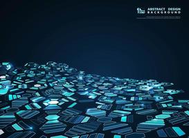 Modello di esagono sfuggente futuristico blu incandescente astratto
