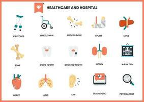 Set di icone di ospedale e assistenza sanitaria vettore