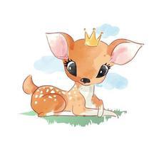 cervo sveglio del fumetto che si siede sull'illustrazione dell'erba vettore