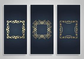 Collezione di banner decorativi con eleganti cornici dorate vettore
