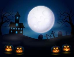 Notte di Halloween con zucca spaventosa e luna piena realistica vettore