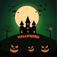 Testa di zucca di Halloween con luna piena, pipistrelli e castello oscuro