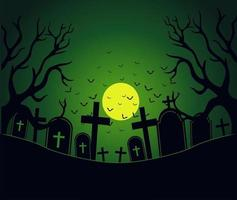 Giorno di Halloween con area del cimitero spettrale vettore