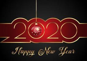 Felice anno nuovo sfondo con testo decorativo e pallina appesa
