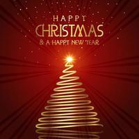 Priorità bassa ondulata dorata dell'albero di Natale vettore