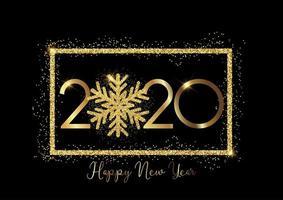 Glittery 2020 fiocco di neve felice anno nuovo sfondo vettore