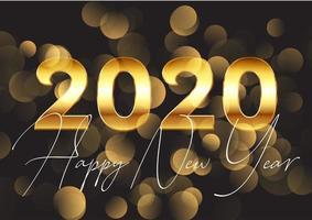 2020 oro felice anno nuovo sfondo vettore