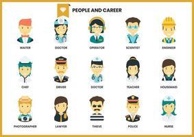 Set di icone di persone e carriera vettore