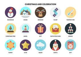 Set di icone circolari di Natale vettore