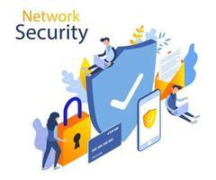 Design isometrico moderno di sicurezza della rete