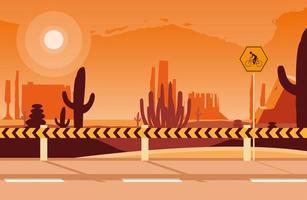scena del paesaggio desertico con segnaletica per ciclista
