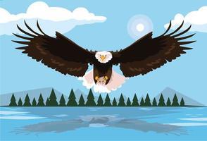 uccello dell'aquila calva che vola con il paesaggio vettore