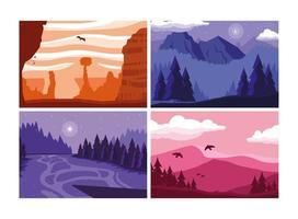 poster di voglia di viaggiare con set di paesaggi