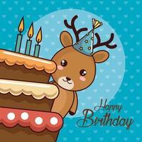 carta di buon compleanno con simpatiche renne