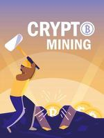 bitcoin di mining di criptovalute per lavoratore vettore