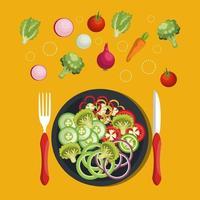 cibo dieta vegana sul piatto vettore