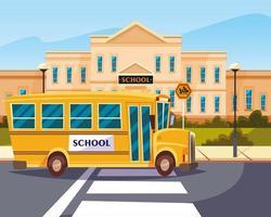 autobus in strada con la scuola vettore