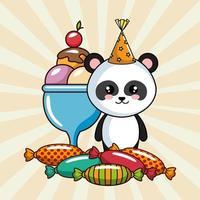 carta di buon compleanno con orso panda e dolcetti