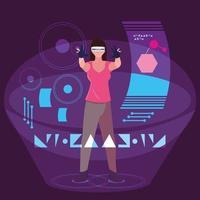 Design di donna che utilizza la tecnologia della realtà aumentata vettore
