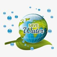 Risparmia il design dell'acqua con globo, gocce d'acqua e foglia vettore